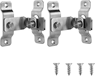 JQK Flip Door Latch, 90 Degree Heavy Duty Stainless Steel Bar Gate Latches Safety Door Lock 2 Pack, Brushed Finish, DL149-...