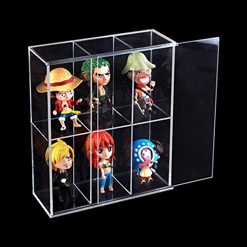 Vitrina acrilica transparente montada con puerta corredera, expositor de juguetes antipolvo, caja de proteccion de pantalla para minifiguras Funko Mini Pop – 19,5 x 7 x 23 cm
