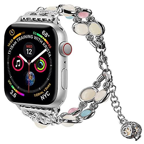 Light Compatible con Correa de Reloj Apple Watch Band 38mm/40mm, Correa Para Mujer Niña Compatible con iWatch Series 6 5 4 3 2 1 SE((Night Silver, 38mm/40mm (6.8-8.8in))