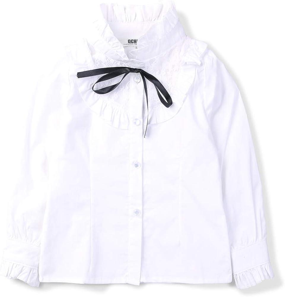 Girls' Princess Lace Collar Uniform Bowknot Blouse, Long Sleeve Ruffle Shirt