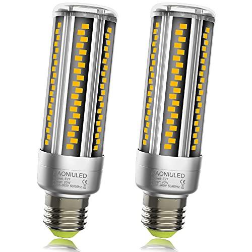 Lampadine LED E27 20W 2500LM 3000K Caldo, Equivalenti a 200W Incandescenza, Alta luminosità Lampadina E27 LED Mais luce bianca calda, Non Dimmerabile, Nessun Sfarfallio, E27 Illuminazione LED, 2 Pezzi