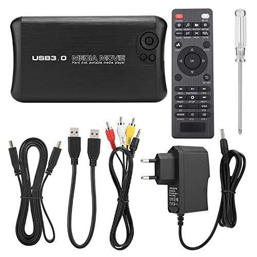 Goshyda SATA HD Media Player, 320G Memory 1080P Full HD USB External HDMI/AV Output Media Player con tecnología de decodificación y función USB Host, para TV(EU)