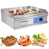 AiQueen 4000W 25.5' Commercial Electric Countertop Griddle Flat Top Grill Hot Plate BBQ,Adjustable Thermostatic Control,Stainless Steel Restaurant Grill for Kitchen