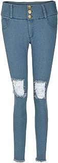 Women Low Waist Hole Stretch Slim Jeans Calf Length Pencil Pants 2019