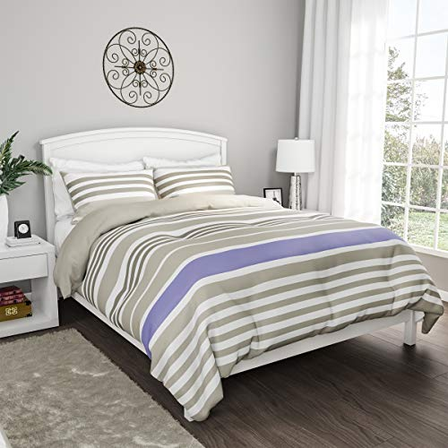"Lavish Home Collection 3-Piece Comforter and Sham Set – ""Seaside Lavender"" Reversible, Hypoallergenic, Soft, Microfiber Striped Down Alternative Bedding (Full/Queen)"