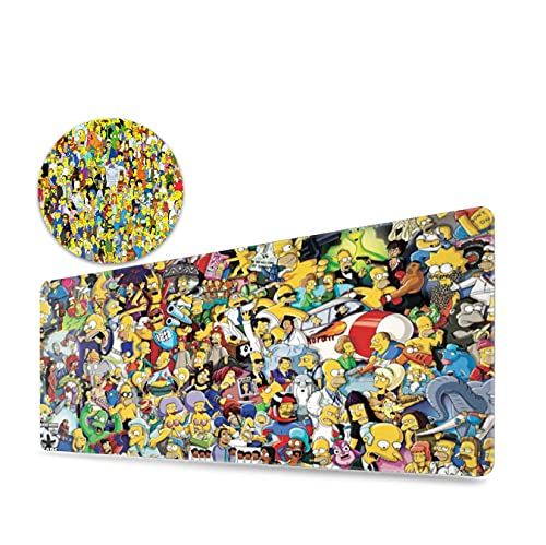 The Simpsons Extend Gaming Mousepad Computer, Mouse Pad (31.5x11.8inch), Silicone Coaster (3.5in), Can Be Used for Any Work, Game, Office, Home Mouse Pad + Coffee Cup Set.