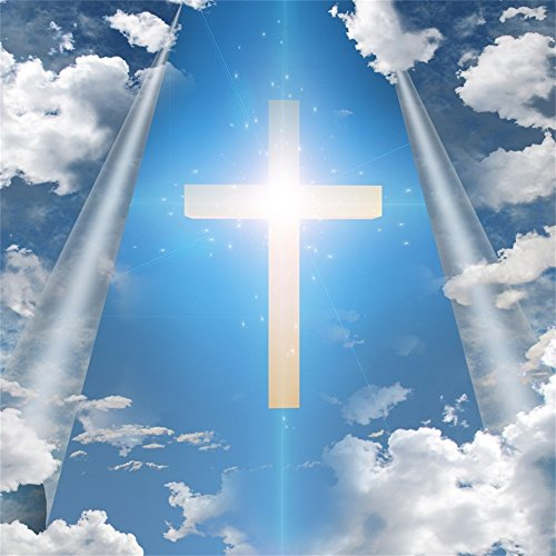 Leowefowa 5X5FT Vinyl Jesus Christian Backdrop Lighting Cross Blue Sky White Cloud Religious Belief Nature Photography Background Kids Adults Happy Easter Holiday Party Decoration Photo Studio Props