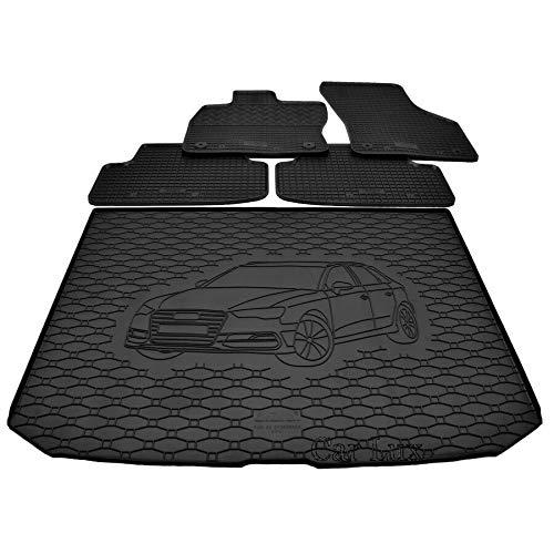 Car Lux DUO06088 - Alfombra Protector Cubre Maletero y Alfombrillas de Goma a Medida para Audi A3 8V Sportback Desde 2012-