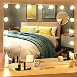 Vanity Makeup Mirror with Light Ohuhu 22.8' x 18.1' 3 Color Lighted Mirror with 15 Dimmable Bulbs Tabletop Wall Mounted Vanity Makeup Mirror Smart Touch Control Girl Mother's Day
