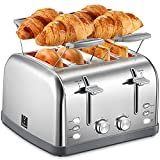 Yabano 4 Slice Toaster, Bagel Toaster with 7 Bread Shade Settings and Warming Rack, 4 Extra Wide Slots, Defrost/Bagel/Cancel Function, Removable Crumb Tray, Stainless Steel Toaster, Silver