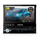 NEOTONE NDX-150A - Radio universal para coche 1DIN con Android 10.0 Q - Navitel con mapas europeos 2020 + Actualización de Vida - DAB+