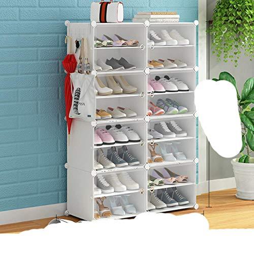 Zapatero portátil r Tower, gabinete modular para ahorrar espacio, zapatero ideal para zapatos, botas, zapatillas de alta capacidad, color blanco, 2 x 8 niveles, Estados Unidos