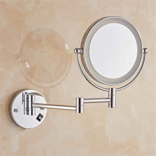 8 Inch Extendable Bathroom Mirror Shaving Mirrors Make Up Wall Mounted LED Illuminated Mirror,Switch Button Hotel Vanity Two Swivel Surface,10xmagnifying