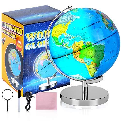 Illuminated Rewritable Globe of The World 12'' for Kids with Stand and Illuminates Educational Interactive Globe STEM Toy, Light Up Globe Lamp, Constellation Globe Night Light LED Decor