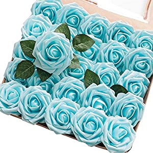Floroom Artificial Flowers Fake Roses w/stem for DIY Wedding Bouquets Centerpieces Arrangements Party Home Decorations