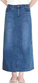 chenshiba-JP レディースカジュアルマキシジャンスカート高ウエストAラインロングデニムスカート