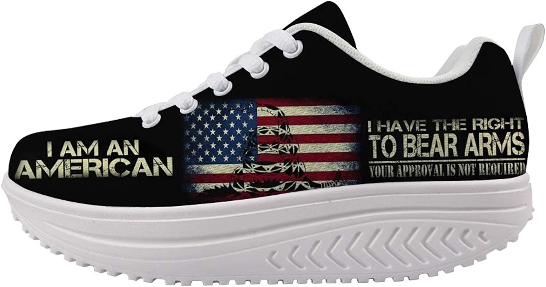 Owaheson Swing Platform Toning Fitness Casual Walking shoes Wedge Sneaker Women American Flag Rattlesnake Bear Arms Right