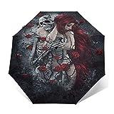 TISAGUER Paraguas automático de Apertura/Cierre,Mujer Elegante,con,Largo,Pelo Rojo,abrazar Rosas,en,Rosales,Paraguas pequeño Plegable a Prueba de Viento
