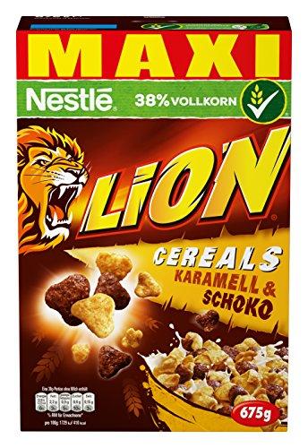 Nestlé Lion Cereals | Schoko Müsli mit Karamell | 38% vitales Vollkorn | Mit Vitaminen und Mineralstoffen | Crunchy Knusper Flakes | Vorratspackung  |  (1 x 675 g)