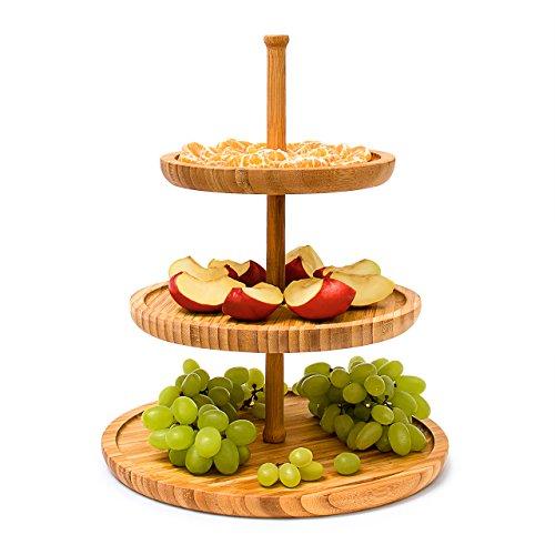 Relaxdays Etagere Bambus H: 25 cm D: 30 cm 3-stöckige Obstetagere aus Holz mit 3 runden Schalen zur Ablage von Gebäck, Kekse, Party-Snacks, Nüsse, Süßigkeiten als Obstteller und Servierplatte, natur