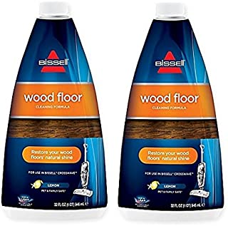 BISSELL Crosswave Wood Floor Cleaning Formula Restore Your Wood Floors' Natural Shine With Freshing Lemon Scent, 32 oz., 2-Pk
