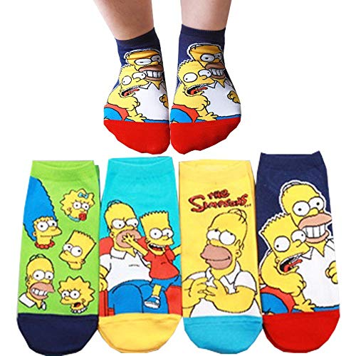 Die Simpson Sneakersocken Animation Comics Süß Beliebt Charakter Knöchel Socken 4 Paaren
