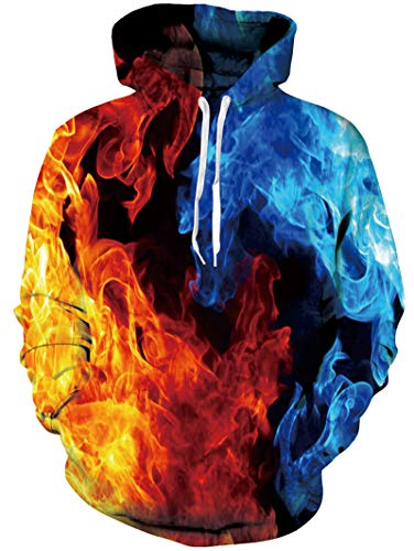 Unisex Smoke Hooded Pullover 3D Fire Printed Casual Novelty Long Sleeve Graphic Red Blue Hoodie Sweatshirt Jacket for Boys Girls L/XL