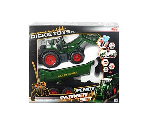RC Auto kaufen Traktor Bild 5: Dickie Toys 201119266 - RC Farmer Set, funkferngesteuerter Traktor mit Anhänger inklusive Batterien, 60 cm*