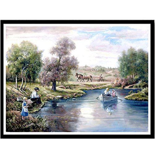 Fineser(TM) Cross Stitch Kit, 5D DIY Diamond Painting-Crystals Embroidery-Handmade Embroidery Home Decor Craft(Countryside Landscape)