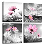 Pink Flower Wall Art for Women Girls Bedroom Peacock Flower Abstract Canvas Painting Artistic Black and White Prints Picture Decor for Living Room 14x14'