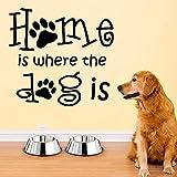 Nuevo hogar es un perro   Adecuado para decoración de pegatinas de pared de dormitorio de bebé