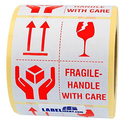 Labelident Warnetiketten auf Rolle 100 x 100 mm - fragile - handle with care - 500 Versandaufkleber auf 1 Rolle(n), 3 Zoll Kern, Papier selbstklebend, weiß