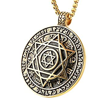 HZMAN Talisman Seal Solomon Six-Pointed Star 12 Constellation Pendant Stainless Steel Necklaces 24  Chain  Gold