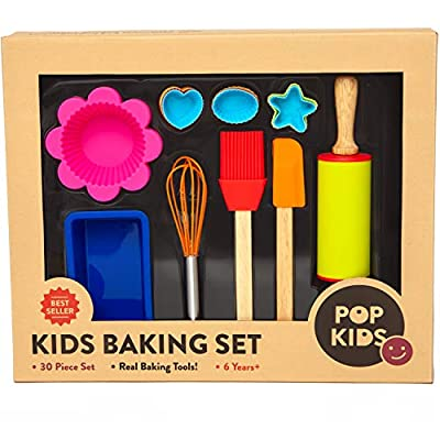 Pop Kid's 30-Piece Real Nonstick Bakeware and Cooking Set with Silicone Cupcake Molds, Spatula, Whisk, Rolling Pin, Cake Pan for Learning Real Cooking and Baking tools Great Gift for Curious Beginners