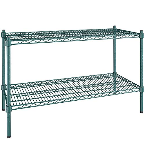 18 inch. x 42 inch. NSF Green Epoxy 2-Shelf Kit with 27 inch. posts. Useful at Home, Garage, Catering, Children's Shelters, Shop, Kitchen, Restaurants, Offices, Warehouse, Basements.