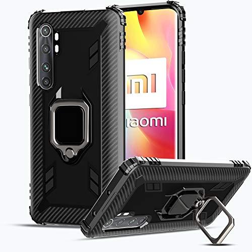 IMBZBK Compatible con Funda Xiaomi Mi Note 10 Lite, 【Anillo de Dedo de rotación de 360 Grados】【Anti-caída】 Soporte magnético para automóvil Compatible para Xiaomi Mi Note 10 Lite - Negro