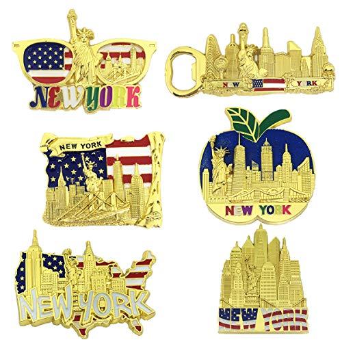 6 Pack Gold Bundle Fridge Magnets New York Souvenir Empire State Building Skylines,Statue of Liberty,Big Apple,USA Flag, Bottle Opener Too
