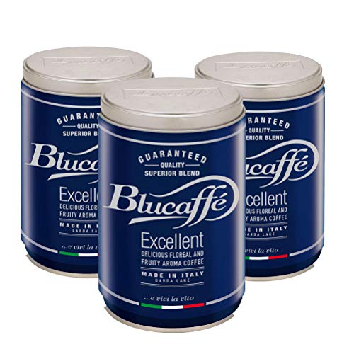 LUCAFFÈ Blucaffè-Kaffeebohnen, 3 x 250 g Stahlglas zur Aromakonservierung, Gourmet-Arabica-Kaffeebohnen, fruchtiger Geschmack, mittlere Röstung, mittlerer Körper, intensives Aroma, wenig Koffein