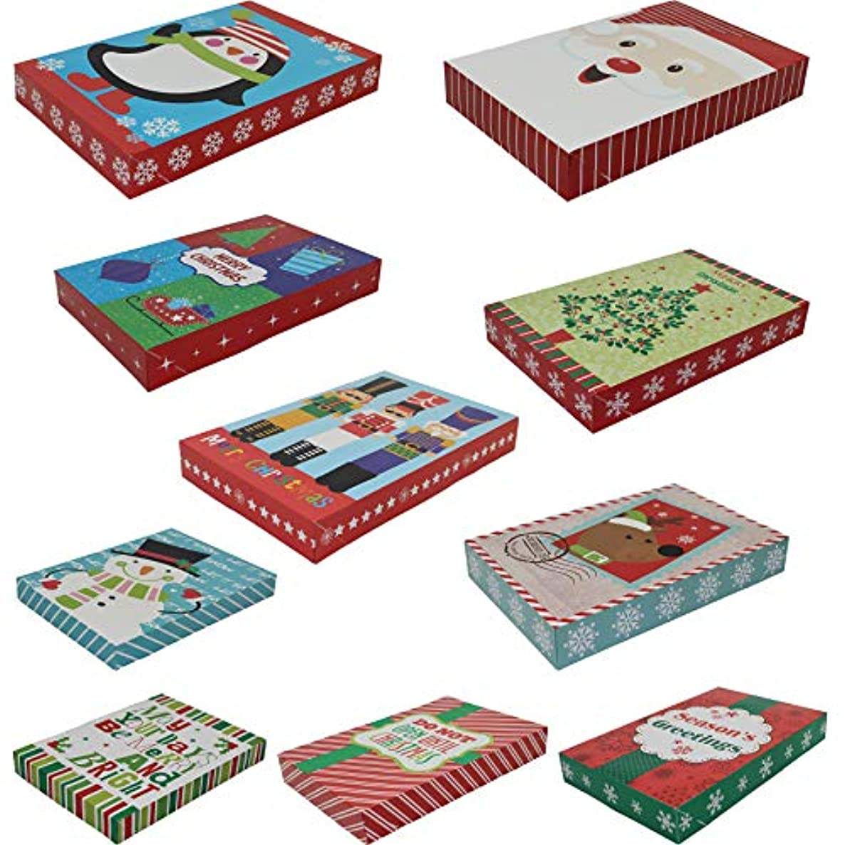 Pack of 10 Christmas Gift Boxes in Assorted Colors and Sizes