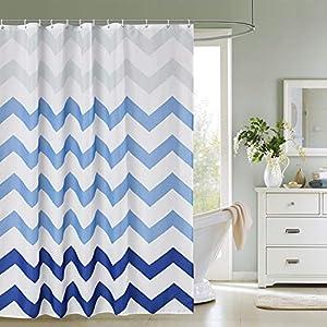 Trimming Shop - Cortina de ducha para baño (180 x 180 cm), color blanco y azul