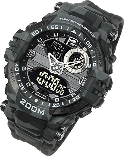 Lad Weather Analog - Digital Watch 660 ft Waterproof Stopwatch Timer Alarm World time Naval Camouflage Combat