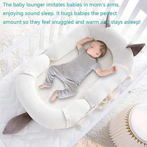 ZIXIANG Lits-Cages Baby Lounger, Dormeur Infantile, Chaise Longue Nouveau-né, Nap Sleeper Berceau pour Lit Lit De Voyage Plus Sûr Confortable Lits bébé Berceaux (Color : White)