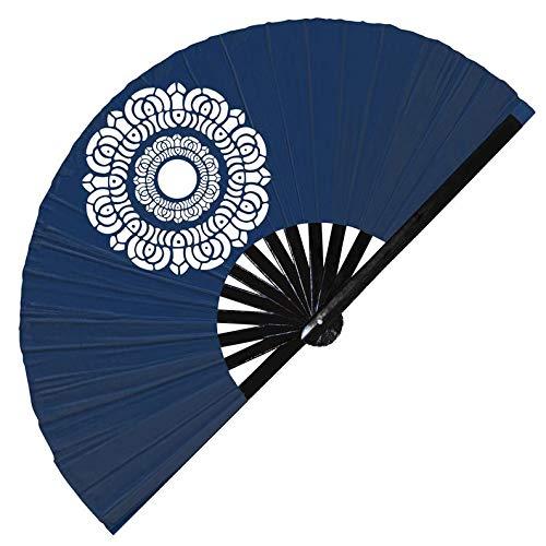 Hypnotiq Abanico de mano de loto blanco Avatar Los últimos símbolos de Airbender Pai sho símbolo de azulejo plegable UV brillante blanco Lotus Fan (6 ventiladores de loto blanco).