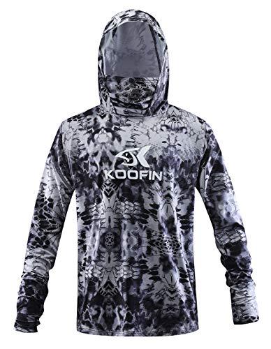 Performance Fishing Hoodie with Face Mask Hooded Sunblock Shirt Sun Shield Long Sleeve Shirt, Black, X-Large