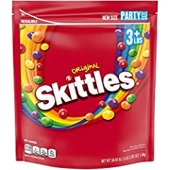 Contains one (1) 50-ounce resealable party size bag of SKITTLES Original Candy Features strawberry, orange, grape, lemon and green apple flavors Celebrate special occasions like Easter, Halloween, Christmas and more with the classic taste of SKITTLES...