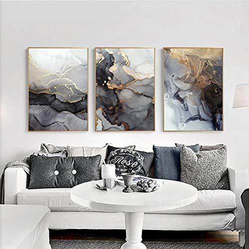 Nordic Grey Golden Fluid Art Marmor Textur Abstrakte Wandkunst Leinwand Poster und Druck für moderne Home Living Room Dekoration No Frame-40x60cmX3