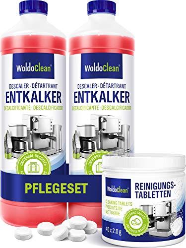 Pflegeset für Kaffeevollautomaten Entkalker 2x 750ml & 40x Reinigungstabletten - Reinigungsset kompatibel sämtlichen Marken