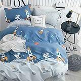 Biancheria da letto per bambini, 135 x 200 cm, per bambini, con astronauta e motivo Rakete, 100% cotone, 80 x 80 cm, federa con chiusura lampo, 2 pezzi, blu
