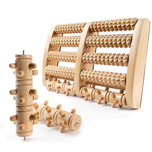 NEU: GGC Premium Fußmassageroller inkl. austauschbaren Rollen I Fußroller Holz ideal für Zuhause & Büro I Foot Massager zur Vorbeugung & Linderung von Schmerzen I Fußmassagegerät aus Holz