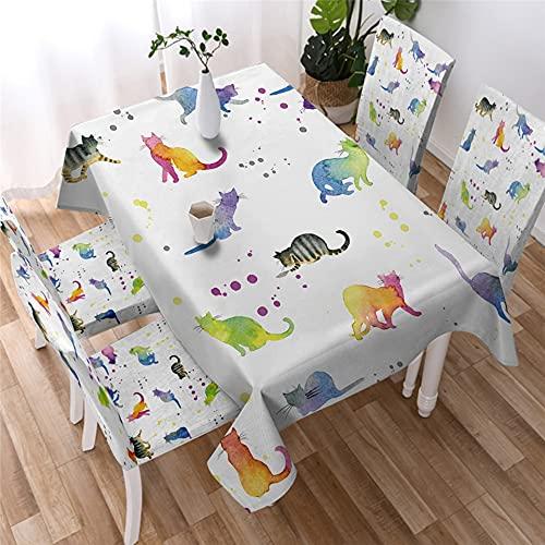 XXDD Lindo Gato Mantel Blanco Cubierta de Mesa de Dibujos Animados Mantel de Amante de los Animales Mantel Impermeable Mantel de decoración del hogar A5 140x160cm